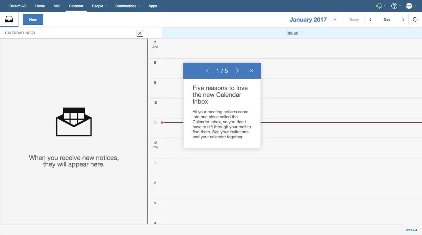 Natürlich gehört die Kalender Inbox dazu, in der Einladungen, Meeting Informationen, usw. aufgeführt werden.