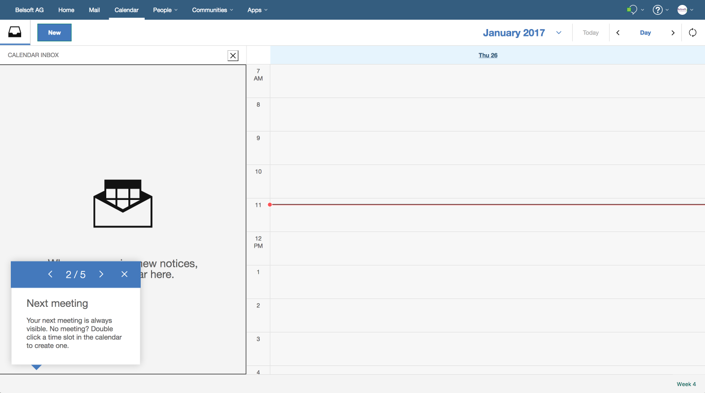 The footer, where you see notification(s) of your next meeting(s). If there is a conflict, two or more meetings starting at the same time, you can see what is scheduled with one click.