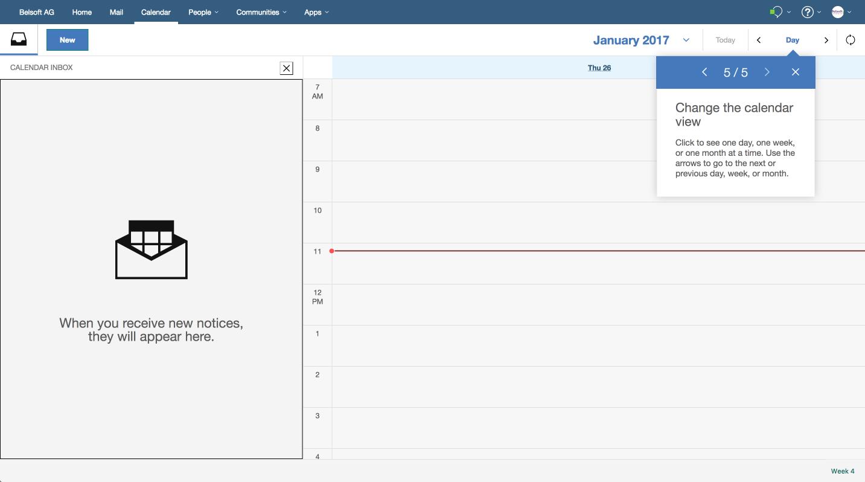 Wie gewohnt, kann man die Kalenderübersicht nach Tag, Woche oder Monat darstellen lassen.